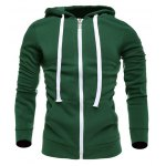 Buy Zip-Up Hooded Drawstring Hoodie 3XL GREEN