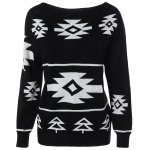 cheap Long Sleeve Geometric Pullover Convertible Sweater