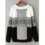 cheap Geometric Net Pattern Loose Sweater