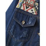 Ribbed Ethnic Embroidered Jean Jacket for sale