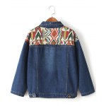 cheap Ribbed Ethnic Embroidered Denim Jacket