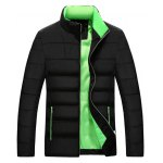Stand Collar Color Block Zip-Up Quilted Jacket