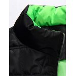 Stand Collar Color Block Zip-Up Quilted Jacket deal