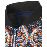 cheap Zip Up Stand Collar Vintage Printed Jacket