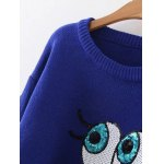 cheap Sequined Eyes Jumper Sweater
