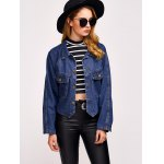 cheap Comfy Double Front Pockets Jean Jacket