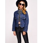 Comfy Double Front Pockets Jean Jacket deal