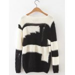 cheap Ripped Two Tone Jumper Sweater