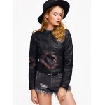 cheap Leaf Print Faux Leather Zip Jacket