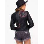 Leaf Print Faux Leather Zip Jacket for sale