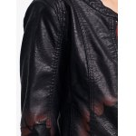Leaf Print Faux Leather Zip Jacket photo