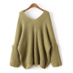 cheap Loose Dolman Sleeve Chunky Sweater
