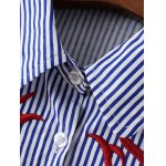 Embroidered Striped Button Up Cropped Shirt deal