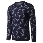 cheap V Neck Abstract Pattern Pullover Sweater
