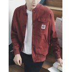 Stand Collar Rib Splicing Single Breasted Jacket deal