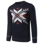 cheap Christmas Crew Neck Snowflake Jacquard Pullover Sweater