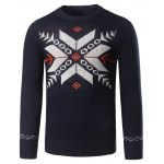 Christmas Crew Neck Snowflake Jacquard Pullover Sweater