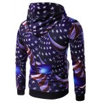 cheap Hooded 3D Star and Stripe Print Hoodie