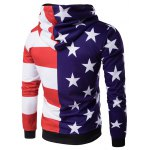 cheap Hooded 3D Stars and Stripes Print Hoodie