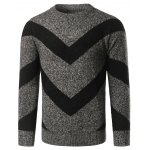 Crew Neck Striped Jacquard Pullover Heather Sweater