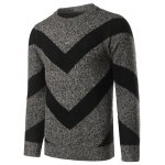 cheap Crew Neck Striped Jacquard Pullover Heather Sweater