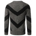 Crew Neck Striped Jacquard Pullover Heather Sweater deal