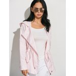 Drawstring Waist Hooded Casual Trench Jacket deal