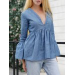 Jean Bell Sleeve Peplum Ruched Blouse deal