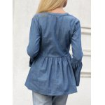 Jean Bell Sleeve Peplum Ruched Blouse for sale