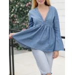 cheap Jean Bell Sleeve Peplum Ruched Blouse
