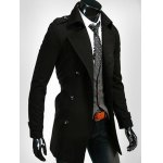 cheap Epaulet Embellished Lapel Collar Double Breasted Coat