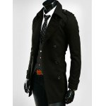 Epaulet Embellished Lapel Collar Double Breasted Coat deal