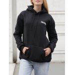 Drawstring Letter Print with Pocket Hoodie deal