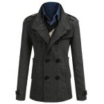 cheap Stand Collar Epaulet Embellished Double Breasted Coat