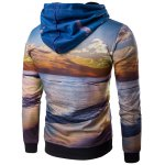 cheap Hooded 3D Dusk and Beach Print Hoodie