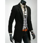 cheap Lapel Lengthen Slimming Single Breasted Blazer
