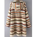 cheap Stripe Fluffy Coat With Hood
