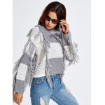 Fringed Color Block Cropped Sweater deal
