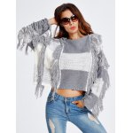 cheap Fringed Color Block Cropped Sweater