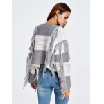 best Fringed Color Block Cropped Sweater
