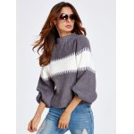 Lantern Sleeve Color Block Chunky Sweater deal