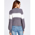 Lantern Sleeve Color Block Chunky Sweater for sale