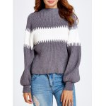 Lantern Sleeve Color Block Chunky Sweater