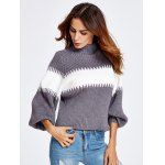 cheap Lantern Sleeve Color Block Chunky Sweater