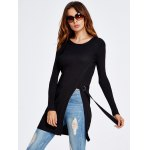 cheap Front Slit Long Knit Sweater