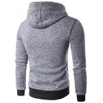 cheap Hooded Oblique Zip-Up Edging Design Hoodie