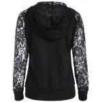 cheap Lace Spliced Lace Up Hoodie