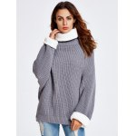 cheap Back Slit Drop Shoulder Chunky  Sweater