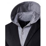 cheap Faux Twinset Hooded Zip-Up Spliced One-Button Jacket