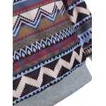 Tribal Print Raglan Sleeves Pocket Hoodie photo